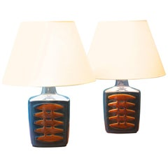 Large Blue Danish Table Lamps by Einar Johansen for Soholm, Set of Two
