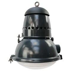 Large Blue Enamel Vintage Industrial Round Glass Pedant Lights