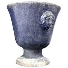 Large Blue Enameled Rouen Urn