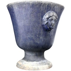 Large Blue Enameled Rouen Urn