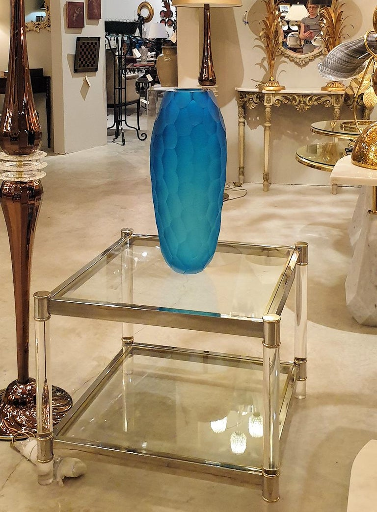 Large Blue Faceted Murano Glass Vase, Mid Modern by Simone Cenedese, 1980s For Sale 4