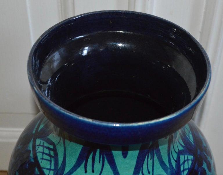 Ceramic Large Blue Floor Vase with Hunting Motive
