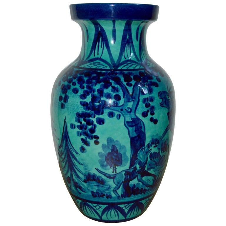 Mid-Century Modern Large Blue Floor Vase with Hunting Motive