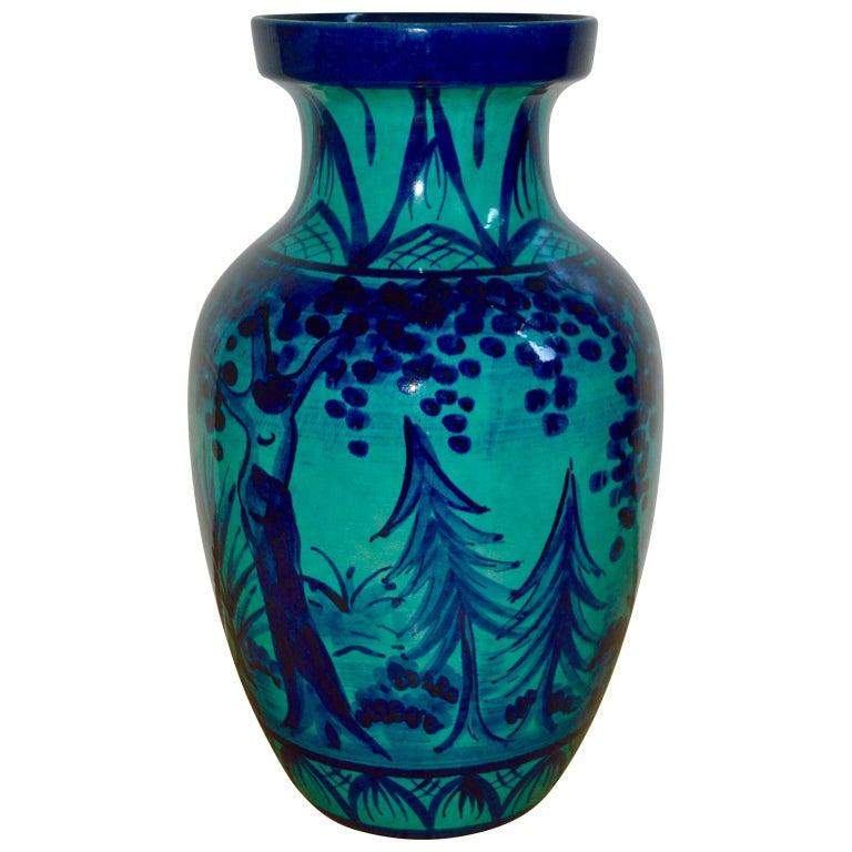 Glazed Large Blue Floor Vase with Hunting Motive
