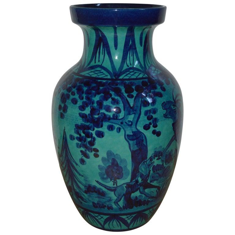 Large Blue Floor Vase with Hunting Motive