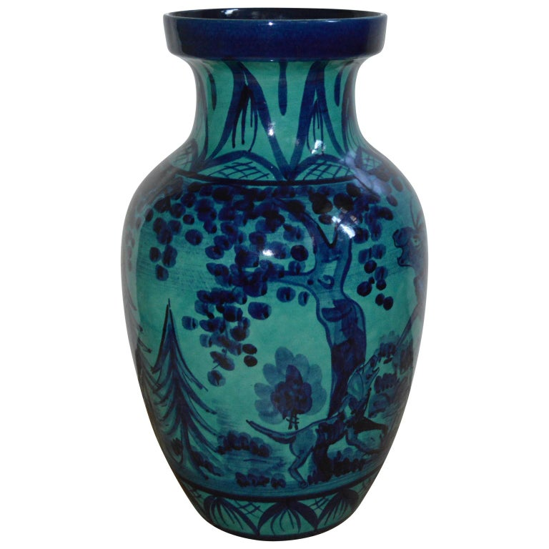 Mid-20th Century Large Blue Floor Vase with Hunting Motive