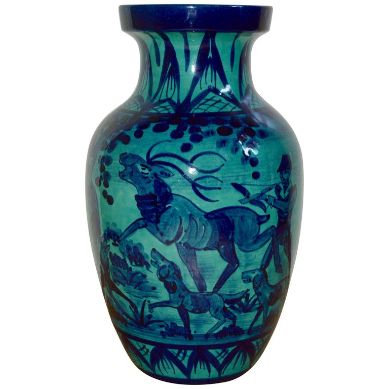 Midcentury large blue West Germany floor vase with a Classic hunting motive