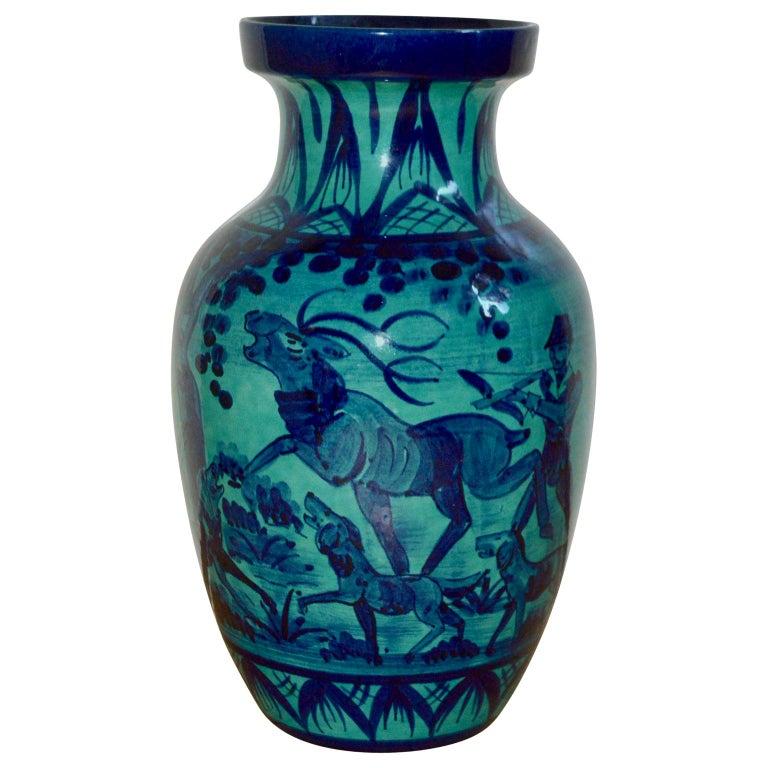 """Large Blue Floor Vase with Hunting Motive """"En Camaïeu"""" For Sale"""