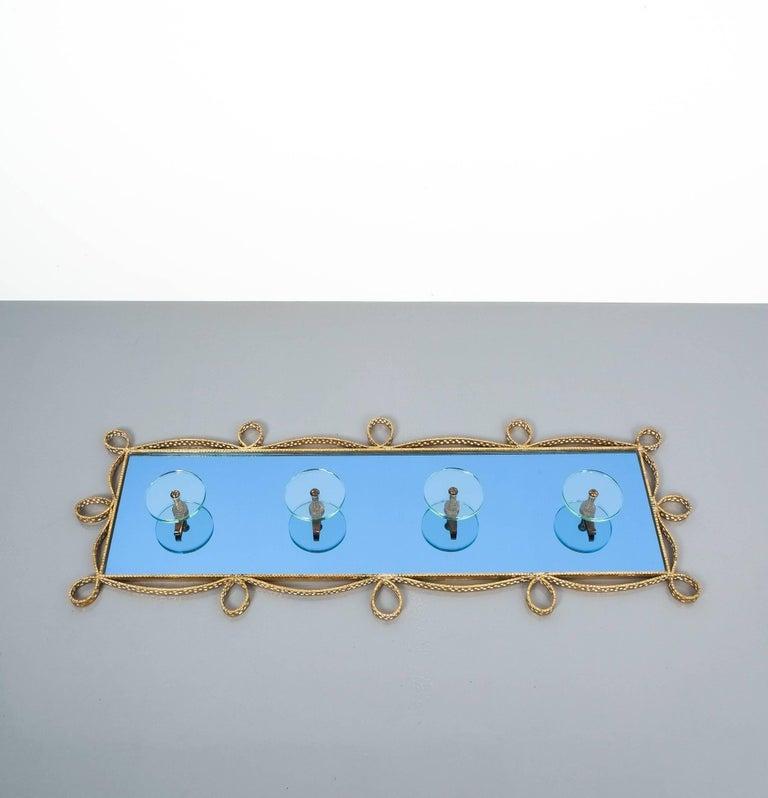 Large Blue Glass Mirror Iron Coatrack, Pierluigi Colli, Italy, 1955 For Sale 3