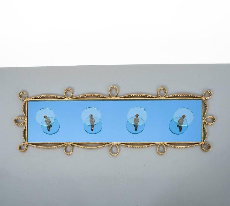 Large Blue Glass Mirror Iron Coatrack, Pierluigi Colli, Italy, 1955 For Sale 4