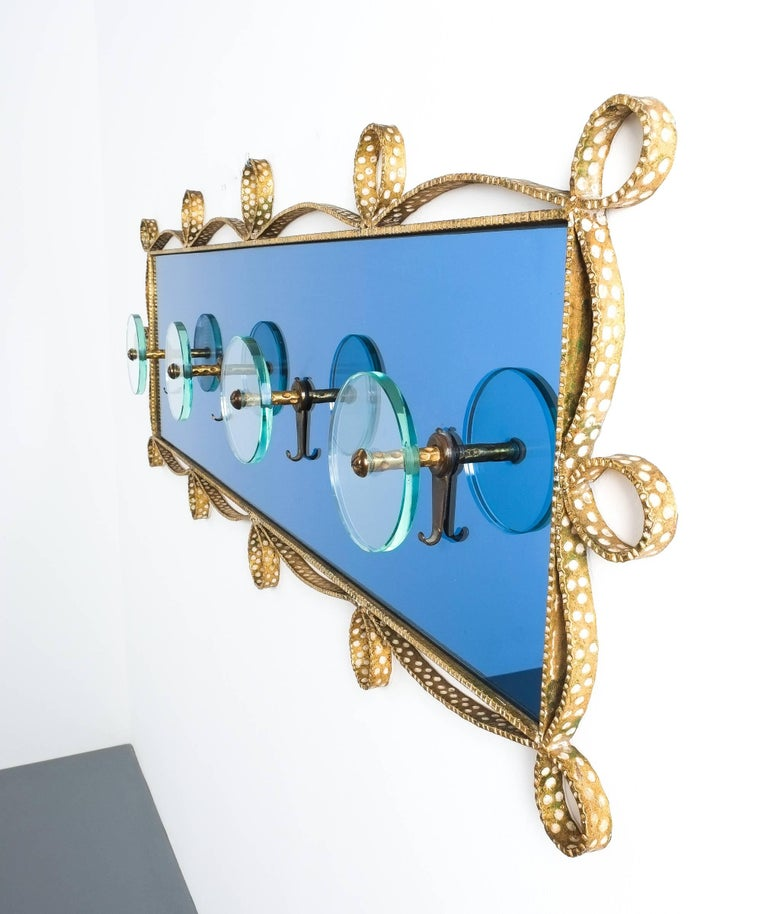 Italian Large Blue Glass Mirror Iron Coatrack, Pierluigi Colli, Italy, 1955 For Sale