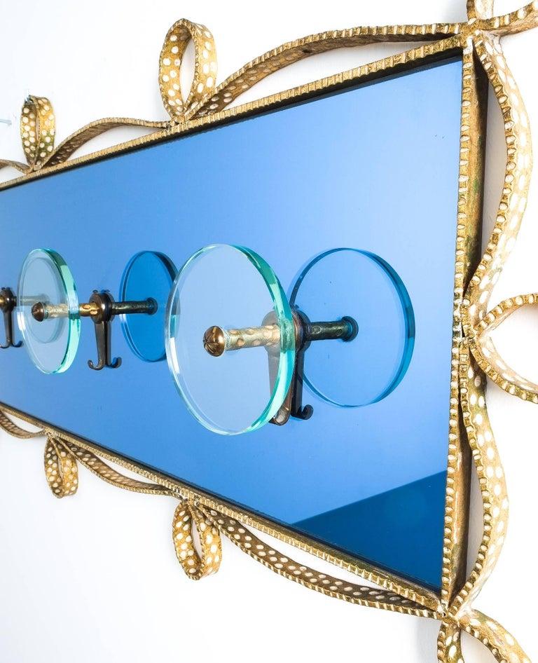 Gilt Large Blue Glass Mirror Iron Coatrack, Pierluigi Colli, Italy, 1955 For Sale