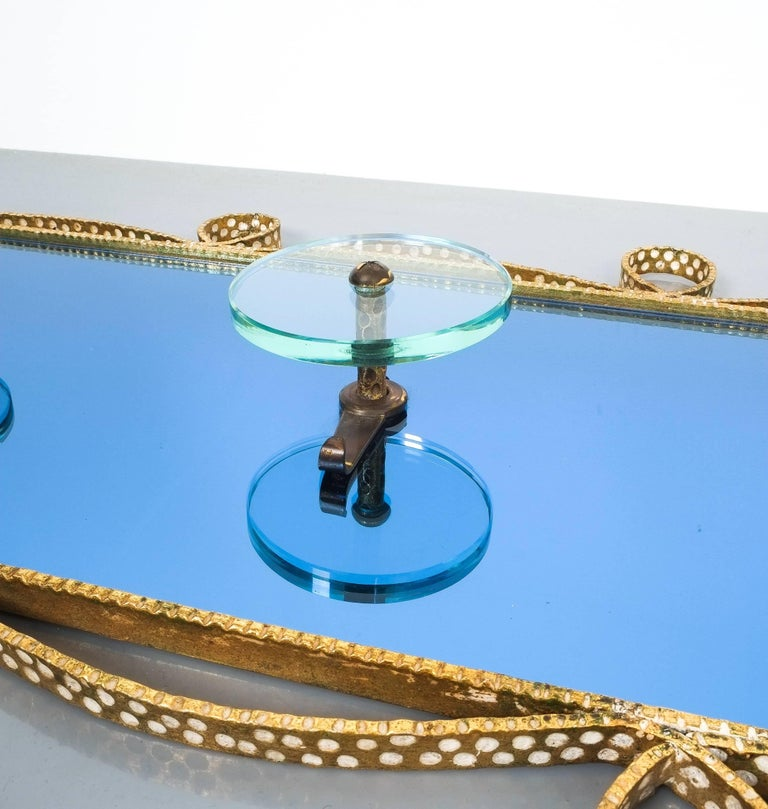 Large Blue Glass Mirror Iron Coatrack, Pierluigi Colli, Italy, 1955 For Sale 1