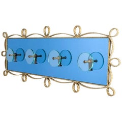 Large Blue Glass Mirror Iron Coatrack, Pierluigi Colli, Italy, 1955