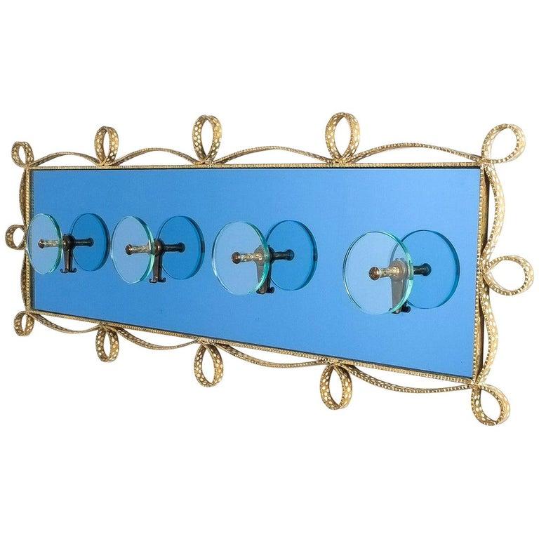 Large Blue Glass Mirror Iron Coatrack, Pierluigi Colli, Italy, 1955 For Sale