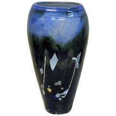 Große blaue Glasvase von Maud G. Bugge für Hadeland Glassverk, Norwegen, 1980er Jahre