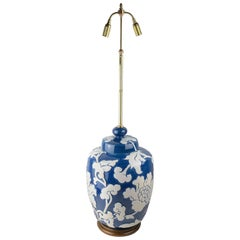 Large Blue-Glazed French Porcelain Table Lamp with High Relief Motifs
