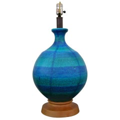 Large Blue-Green Ceramic Table Lamp by Bitossi