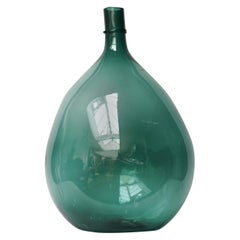 Large Blue-Green Italian 19th Century Demi John Hand Blown Glass Wine Bottle
