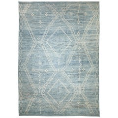 Large Blue Green Modern Moroccan Style Rug. Size: 13 ft 7 in x 19 ft 5 in