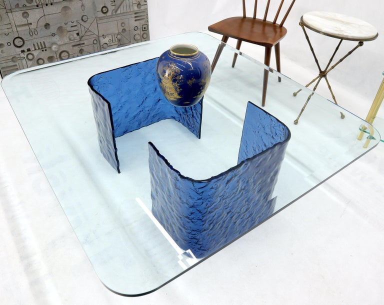 Large Blue Molten & Bent Glass C-Shape Base Glass Top Coffee Table For Sale 4