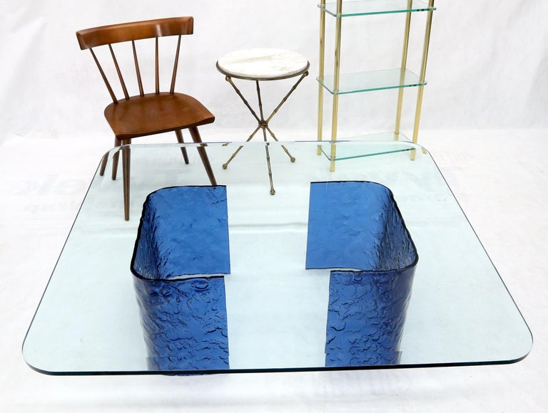 Mid-Century Modern Large Blue Molten & Bent Glass C-Shape Base Glass Top Coffee Table For Sale