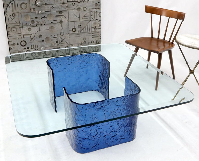 20th Century Large Blue Molten & Bent Glass C-Shape Base Glass Top Coffee Table For Sale