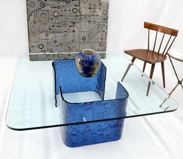 Large Blue Molten & Bent Glass C-Shape Base Glass Top Coffee Table For Sale 2