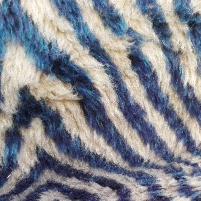 Modern Large Blue Moroccan Berber Rug For Sale