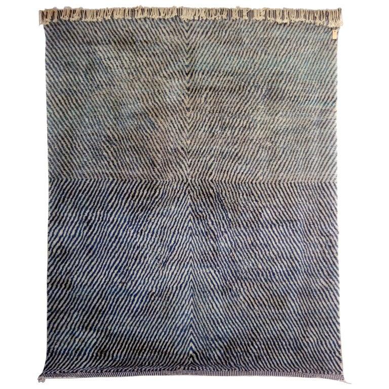 Large Blue Moroccan Berber Rug For Sale
