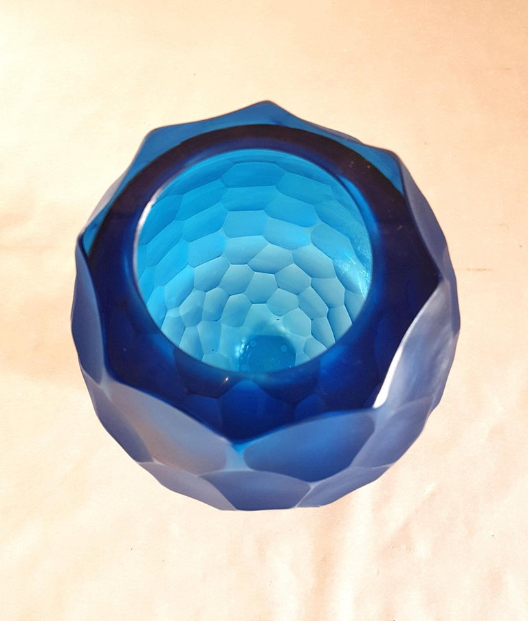 Italian Large Blue Faceted Murano Glass Vase, Mid Modern by Simone Cenedese, 1980s For Sale