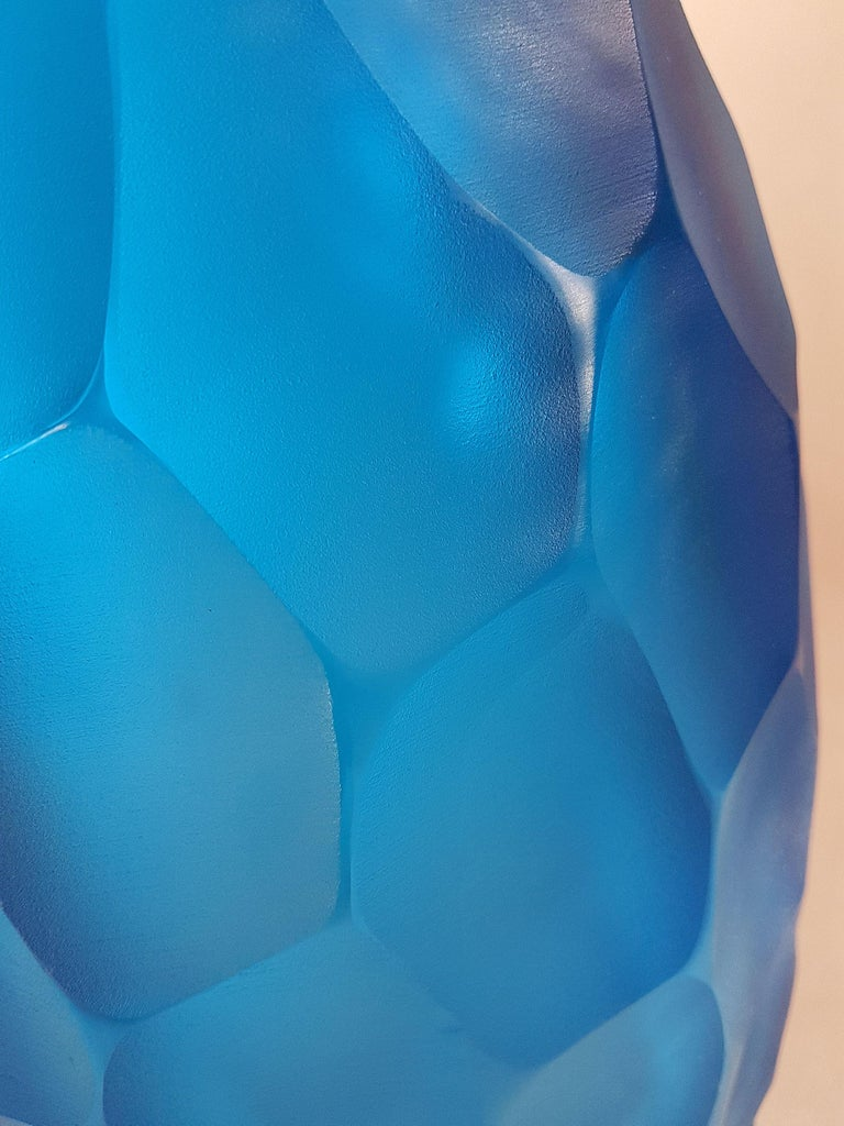 Hand-Crafted Large Blue Faceted Murano Glass Vase, Mid Modern by Simone Cenedese, 1980s For Sale