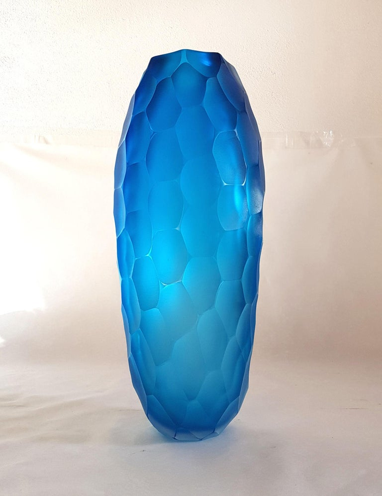 Large Blue Faceted Murano Glass Vase, Mid Modern by Simone Cenedese, 1980s For Sale 1