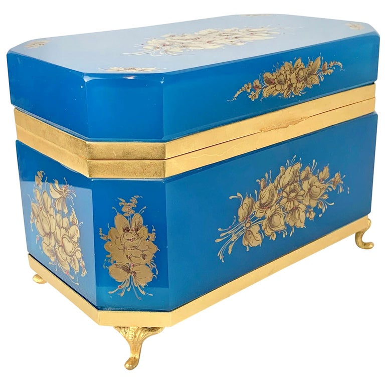Large Blue Opaline Hand Painted Hinged Glass Box with Gilt Frame For Sale