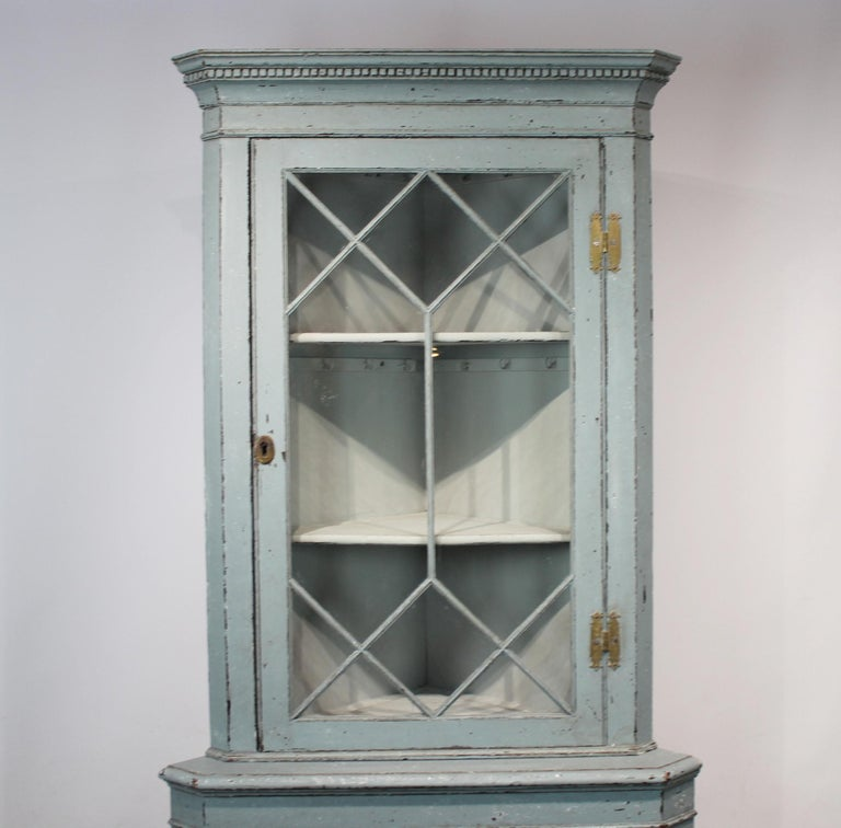 Late 19th Century Large Blue Painted Gustavian Corner Cabinet from the 1880s For Sale