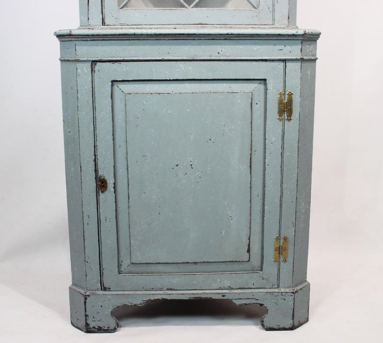 Wood Large Blue Painted Gustavian Corner Cabinet from the 1880s For Sale