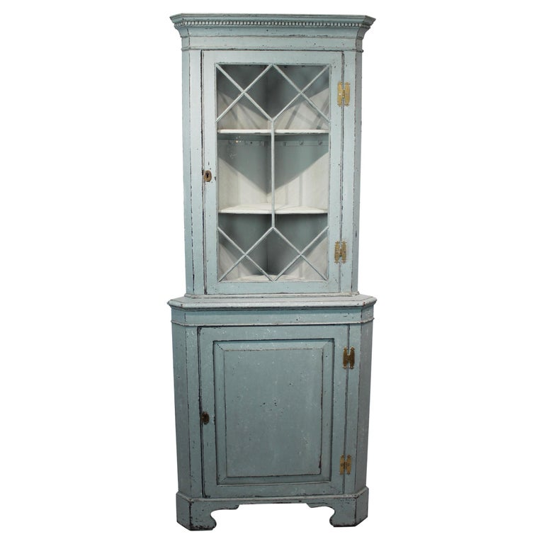 Large Blue Painted Gustavian Corner Cabinet from the 1880s For Sale
