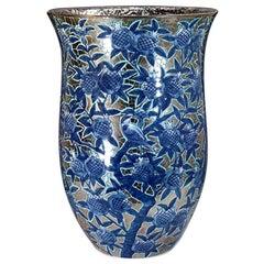Large Blue Platinum Porcelain Vase by Contemporary Japanese Master Artist