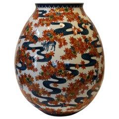 Large Blue Red Japanese Porcelain Vase by Contemporary Master Artist