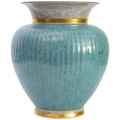 Large Blue Royal Copenhagen Crackle Glaze Vase