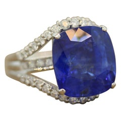 Large Blue Sapphire Diamond Platinum Cocktail Ring