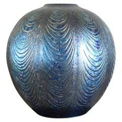 Large Blue Silver Porcelain Vase by Contemporary Japanese Master Artist