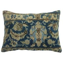 Large Blue Tabriz Rug Pillow