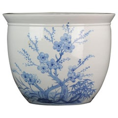 Large Blue White Chinese Porcelain Fishbowl Planter Flowers and Ducks China