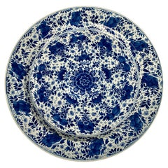Extra Large Blue & White Delft Charger Hand-Painted  18th Century c-1760