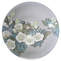 Large Blue White Porcelain Charger by Japanese Contemporary Master Artist