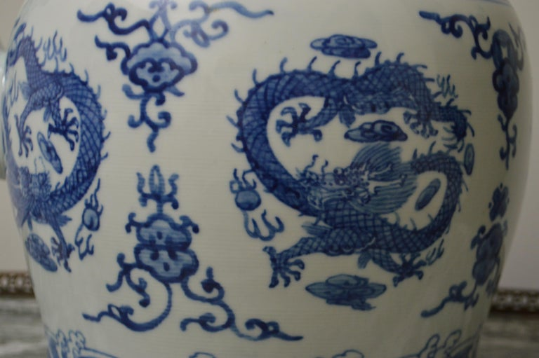 Contemporary Large Blue and White Porcelain Tea Pot For Sale