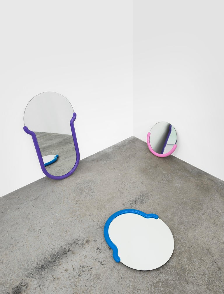 Modern Large Bogin Mirror in Purple by Greg Bogin for Normann X Brask Art Collection For Sale