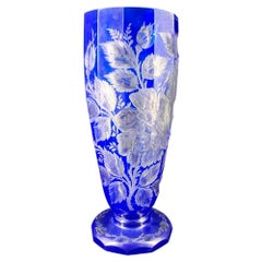 Large Bohemian Blue Overlay Glass Vase, Superbly Cut with Flowers, circa 1880