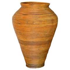 Large Bohemian Tan Pencil Reed Bamboo Handcrafted Tall Cone Shape Floor Vase